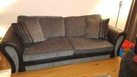 Grey & black 4 seater sofa