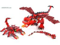 Lego Creator 3:1 31032 Red Creatures complete with box and instruction sets ages 7-12