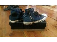Blue denim High Top Converse All Stars. Size 5.5