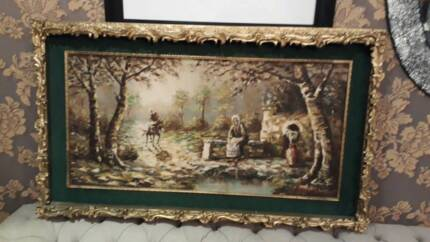 Antique wall picture with gold Frame