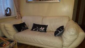 3 seater & 2 seater real leather sofas