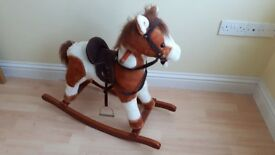 Electronic Sound Effect Rocking Horse With Saddle and Stirrups
