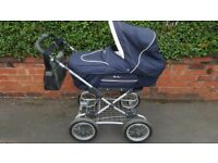 Silver Cross retro pram pushchair . 2 in 1 . Plus nappy bag.