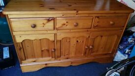 SOLID PINE CHEST OF DRAWS VERY HEAVY,,