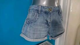Miss selfridge jeans shorts ladies size 10