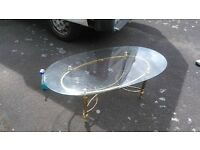 glass coffee table with brass legs- free delivery