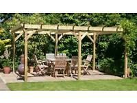 Wooden Garden pergola 4m x 2m 6x2 timbers