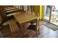 Dinning table with chairs and bench
