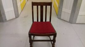 1 carved dining chairs,solid oak,1 leather,antique,good condition,stable