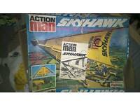 VINTAGE ACTION MAN SKYHAWK AND GHOST TRAIN