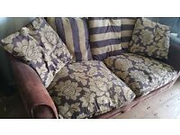 DARK BROWN VELOUR FABRIC SOFA FOR SALE