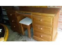 Pine solid desk with 6 drawers/ dresser with mirror and chair
