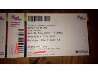 Two Ronan Keating tickets Newcastle City Hall Sept 14th