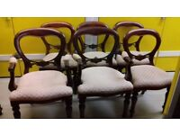 6 dining chairs,balloon back,Victorian style,carved,5 stable,2 carvers,no table