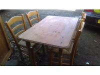 pine dining table and chairs - free local delivery