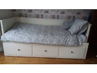 Ikea Day bed, single pulls out to a double, white wood 3 drawers, no mattresses