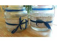 Wedding vase/jars/lanterns hessian and lace x 10