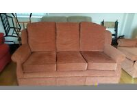 Brown sofa 3 seater and 2x matching armchairs with 2 footstalls, £40 ono