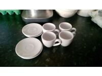 Set of four 2-ounce espresso cups and saucers