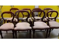 8 dining chairs,balloon back,Victorian style,carved,5 stable,2 carvers,no table