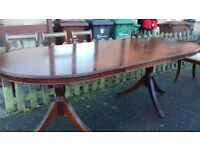 Regency dining table,mahogany,160-215CM,extendable,castor,round end,no chairs