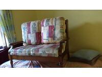 Two Seater sofa. Wooden frame. Chair also