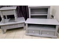solid wood,storage xlarge tv unit,bookcase,lamp table & matching coffee table ex con
