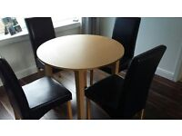 Dining Table and 4 Leather Look Chairs - Excellent Condition