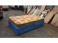 Double divan bed with 4 drawers, mattress and headboard.