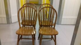 4 dining chairs,solid oak,Windsor style,carved,stable but one seat split
