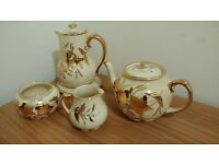 sadler leaf cream teapots, sugar bowl and milk jug