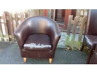 1 seat sofa, arm chair, good physical condition but faux leather broken
