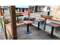 !Restaurant Closed! Wood Metal Square Dining Tables + Chairs