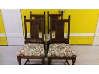 4 dining chairs,genuine Old charm,solid oak,carved,stable,no carver,no table