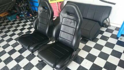 Retrimmed black vinyl Gemini wagon seats