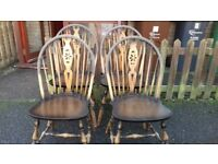 4 dining chairs, solid oak, wheel back, carved, stable, Jaycee Furniture