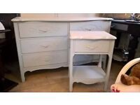 Stunning pale blue and cream chest dresser with side table and mirror