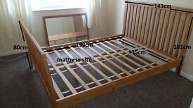Double wooden bed frame wood bed solid very stable in very good condition.