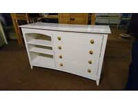 Solid wood white drawers with shelving very good condition