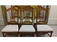 6 dining chairs, solid oak, carved back and leg, cushion acceptable, stable