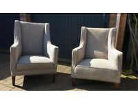 Pair of Wingback Armchairs in Black and Cream Check Pattern