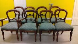 8 dining chairs,balloon back chair,Victorian style,carved back,2 carver,3 wobbly