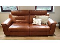 2x 3 Seater Leather Recliner Sofas - ex DFS - REDUCED PRICE