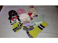 Large bundle of hats, mittens & scarf