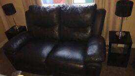 2x2 leather recliner 200 2 X black gloss units tv unit coffee table