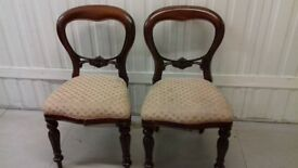 2 dining chairs,balloon back,Victorian style,carved,wobbly,no carver,no table
