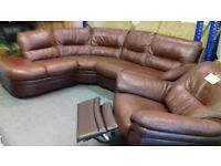 Chocolate Brown LEATHER Corner Sofa + ELECTRIC Recliner Chair. Excellent Cond. Local Delivery. . . .