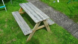 Kids wooden picnic bench