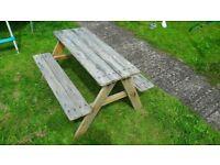 Kids wooden picnic bench