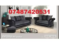 LUXURY MESSINA 3+2 SEATER SOFA IN BLACK AND GREY